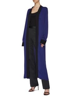 Haider Ackermann Contrast border split side satin V-neck robe dress