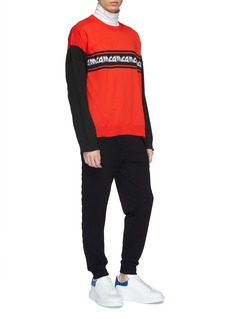 McQ Alexander McQueen 'Metal Repeat' logo embroidered colourblock sweater
