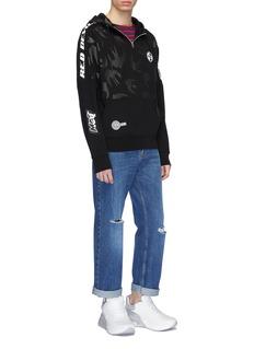 McQ Alexander McQueen Logo slogan appliqué swallow print half-zip hoodie