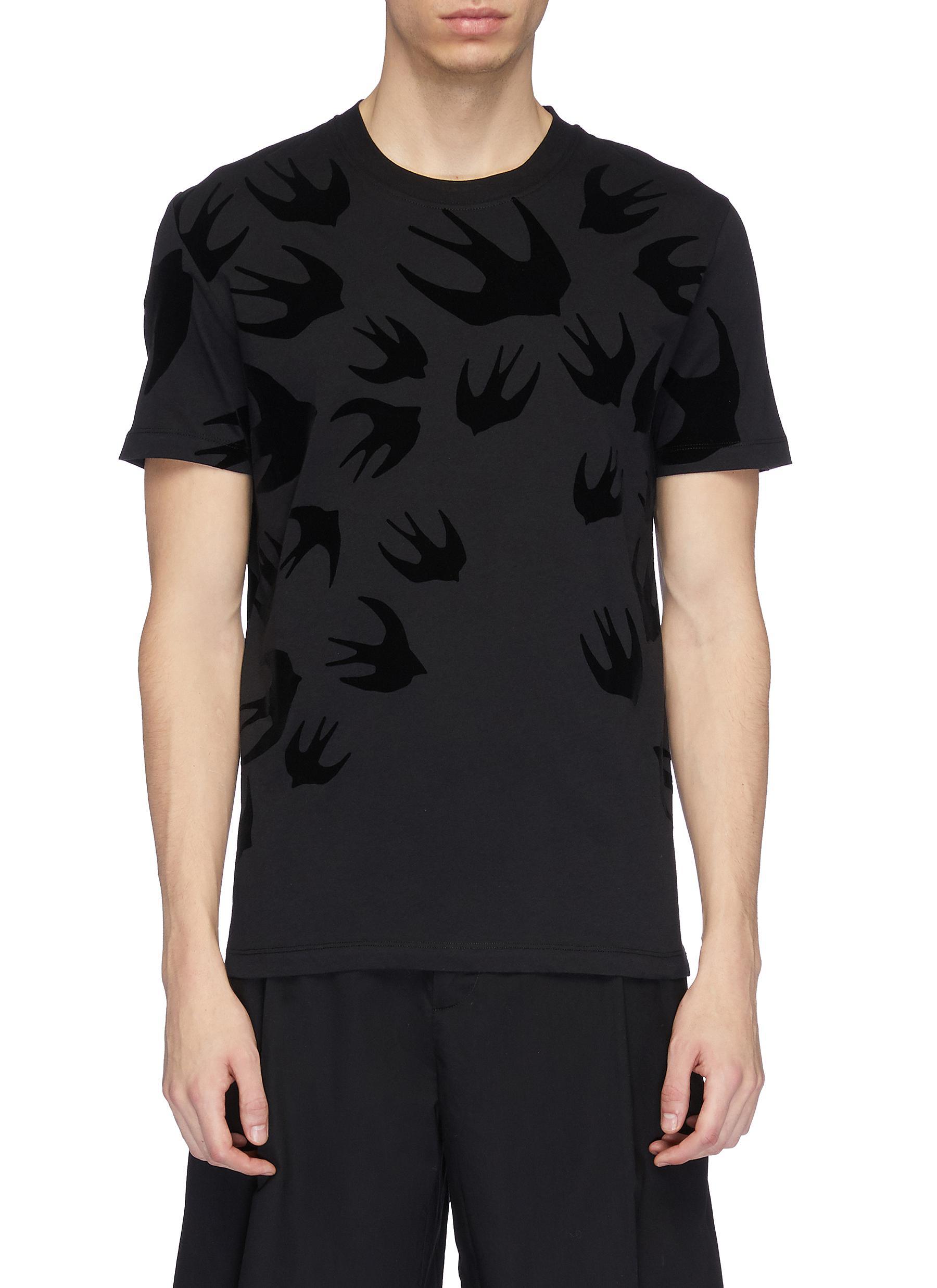 0871b3766da124 MCQ ALEXANDER MCQUEEN | Swallow velvet flock print T-shirt | Men ...