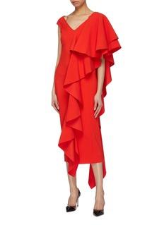 Solace London 'Alora' asymmetric ruffle drape dress