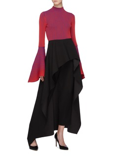 Solace London 'Sattal' bell sleeve stripe rib knit mock neck top