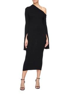 Solace London 'Maille' split cuff one-shoulder rib knit midi dress