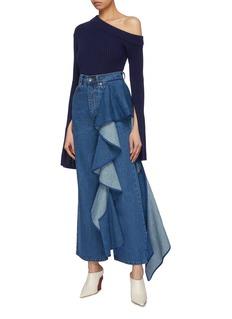 Solace London 'Tay' ruffle drape panel jeans