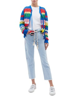 Mira Mikati Rope belted zigzag embroidered jeans