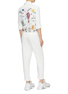 Mira Mikati Belted graphic embroidered back crepe jumpsuit