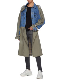 DRY CLEAN ONLY Denim panel belted twill trench coat