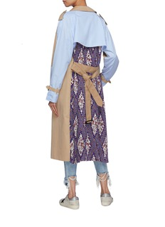 DRY CLEAN ONLY Mix print patchwork belted  trench coat