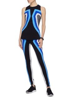 No Ka'Oi 'Huli Kimi' geometric stripe outseam Sensitive® performance leggings