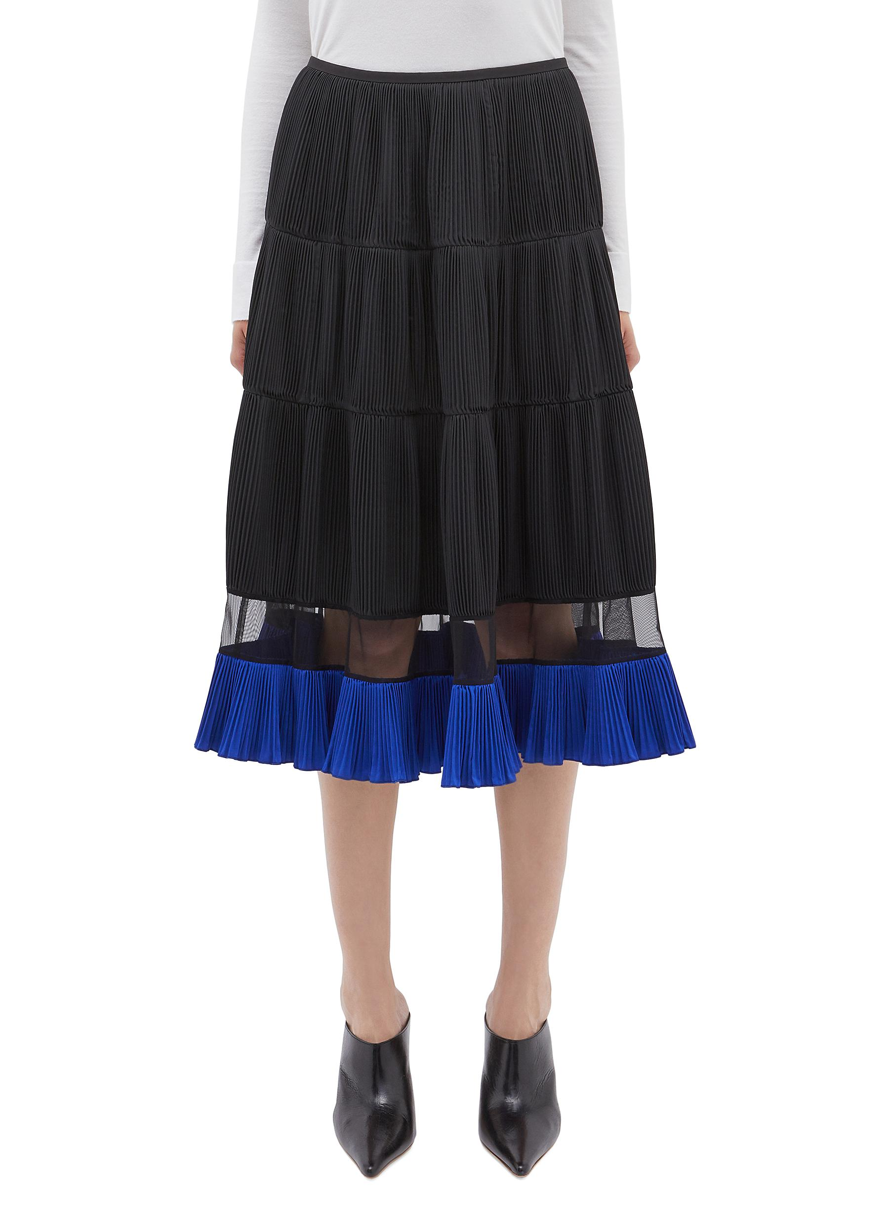 Colourblock hem mesh panel pleated herringbone skirt by Toga Archives