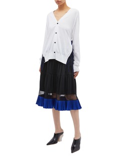 TOGA ARCHIVES Mesh trim belted cardigan