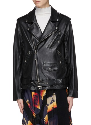 Main View - Click To Enlarge - TOGA ARCHIVES - Lace-up leather biker jacket