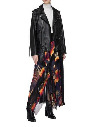 Figure View - Click To Enlarge - TOGA ARCHIVES - Lace-up leather biker jacket