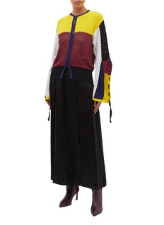 TOGA ARCHIVES Colourblock tie cuff mix knit cardigan