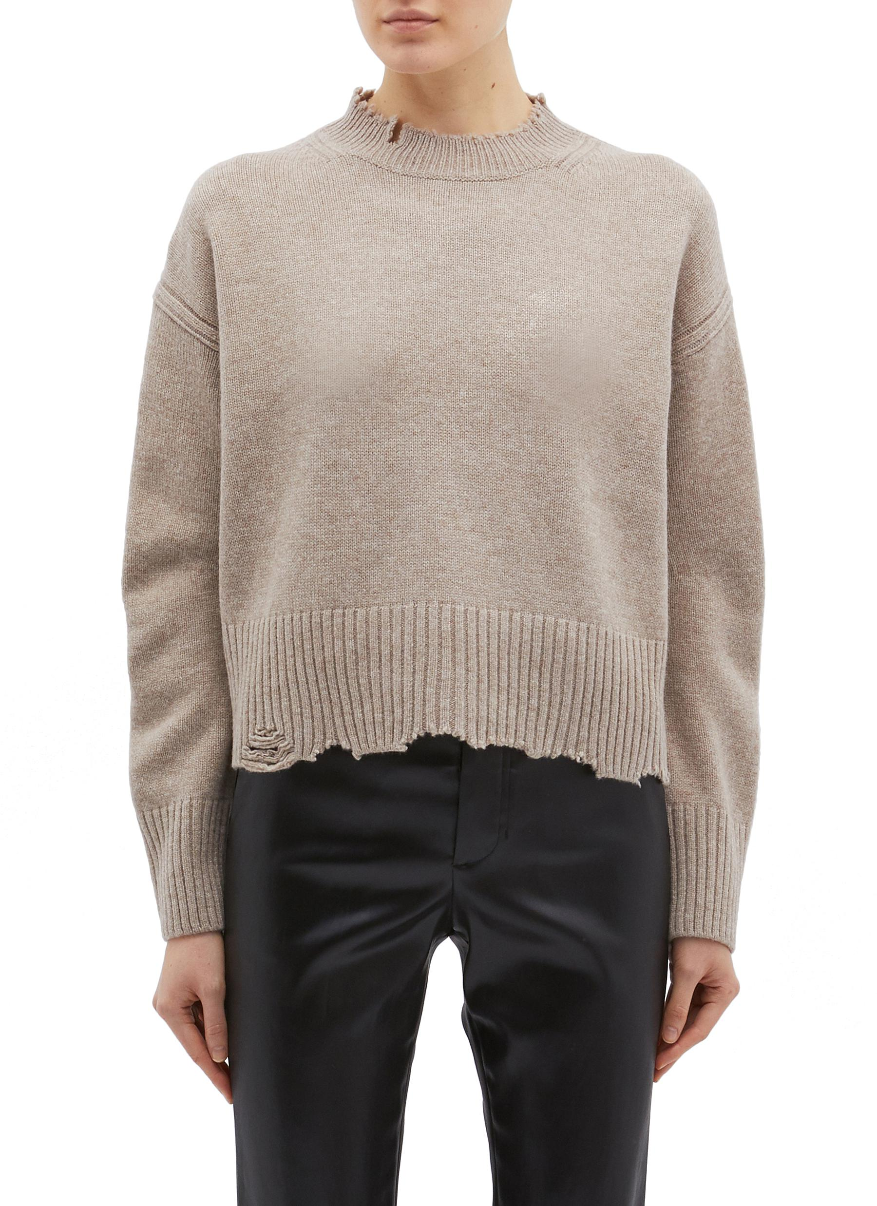 Distressed wool-cashmere sweater by Helmut Lang