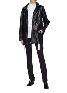 Helmut Lang Contrast topstitching leather anorak jacket