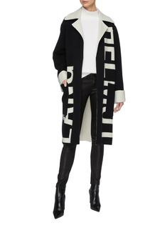 Helmut Lang Belted logo jacquard oversized wool melton coat