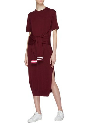 Figure View - Click To Enlarge - MRZ - Sleeve tie knit dress