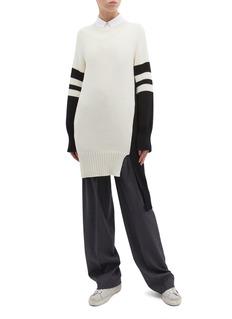 MRZ Staggered side split stripe sleeve sweater