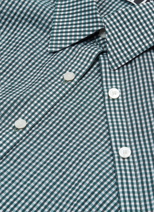 - DAWEI - Asymmetric placket gingham check shirt