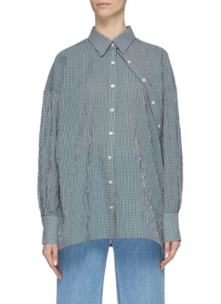 Main View - Click To Enlarge - DAWEI - Asymmetric placket gingham check shirt