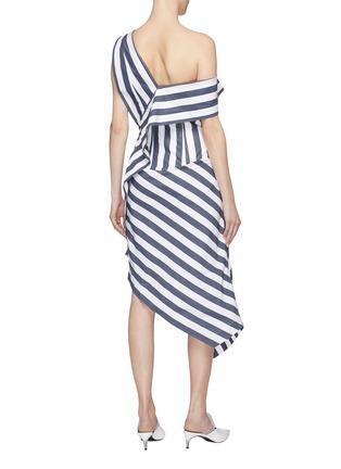 Back View - Click To Enlarge - DAWEI - Asymmetric drape stripe one-shoulder dress