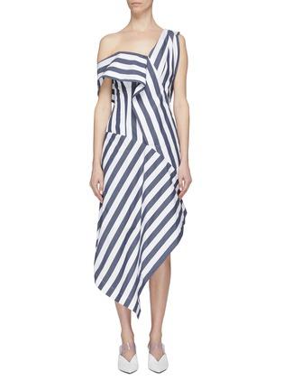 Main View - Click To Enlarge - DAWEI - Asymmetric drape stripe one-shoulder dress