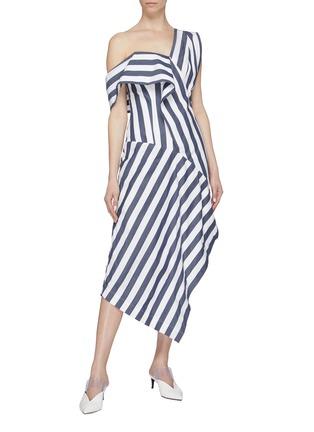 Figure View - Click To Enlarge - DAWEI - Asymmetric drape stripe one-shoulder dress
