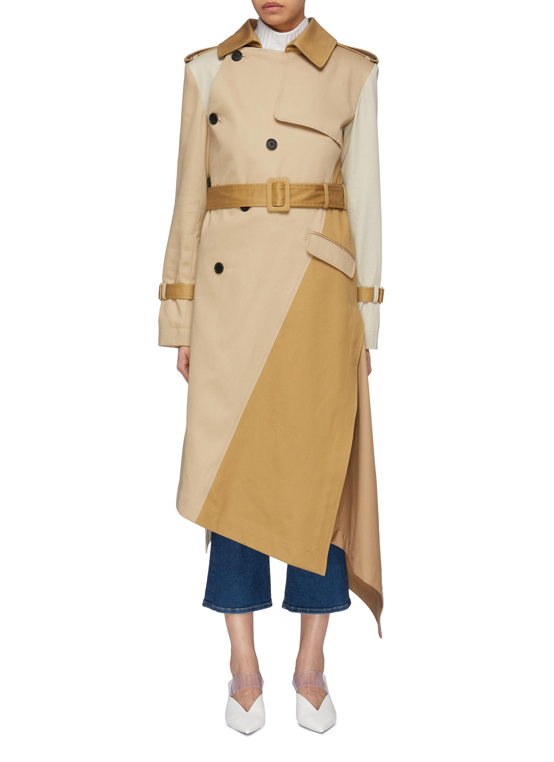 Belted asymmetric patchwork trench coat by Monse