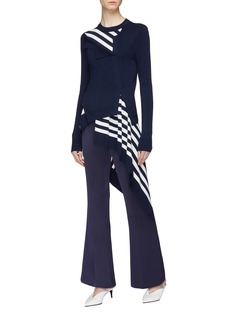 Monse Twisted stripe panel drape hem wool cardigan