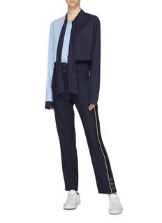 Xiao Li Sash neck stripe poplin panel asymmetric shirt