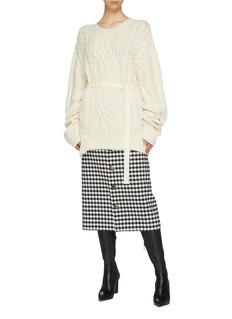 Tome Belted wool cable knit sweater