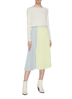 TOME Colourblock pleated midi skirt