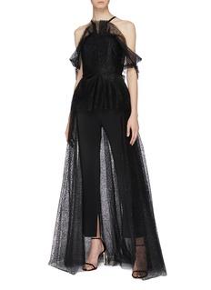 Roland Mouret 'Kendray' embellished tulle drape overlay off-shoulder jumpsuit