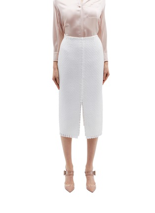 Main View - Click To Enlarge - Roland Mouret - 'Turnley' split front lattice skirt