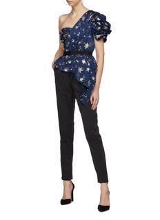 self-portrait Star embellished ruffle drape one-shoulder jumpsuit