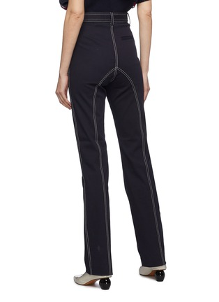 Back View - Click To Enlarge - SELF-PORTRAIT - Belted contrast topstitching canvas pants