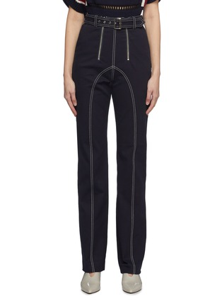 Main View - Click To Enlarge - SELF-PORTRAIT - Belted contrast topstitching canvas pants