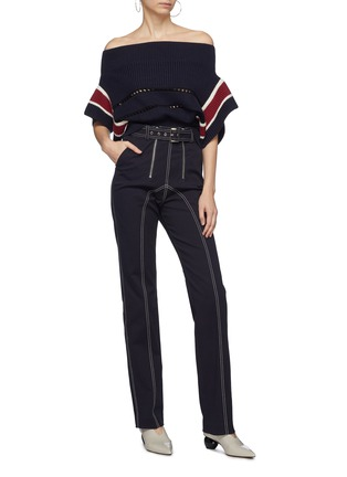 Figure View - Click To Enlarge - SELF-PORTRAIT - Belted contrast topstitching canvas pants
