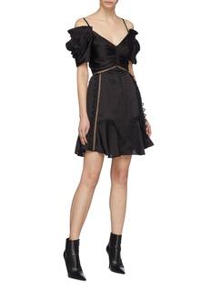 self-portrait Lace trim ruched off-shoulder satin mini dress