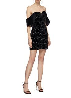 self-portrait Strass velvet off-shoulder mini dress