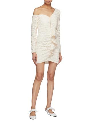 Figure View - Click To Enlarge - SELF-PORTRAIT - Zip front ruffle sequin one-shoulder dress