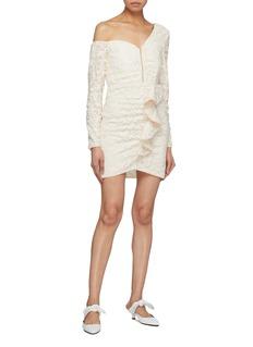 self-portrait Zip front ruffle sequin one-shoulder dress
