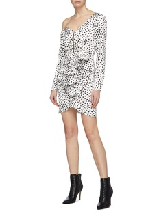 self-portrait Zip front ruffle graphic print satin one-shoulder dress