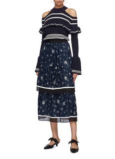 self-portrait Pleated tiered star print satin skirt