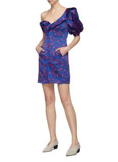 self-portrait Frill puff sleeve crescent print satin one-shoulder dress