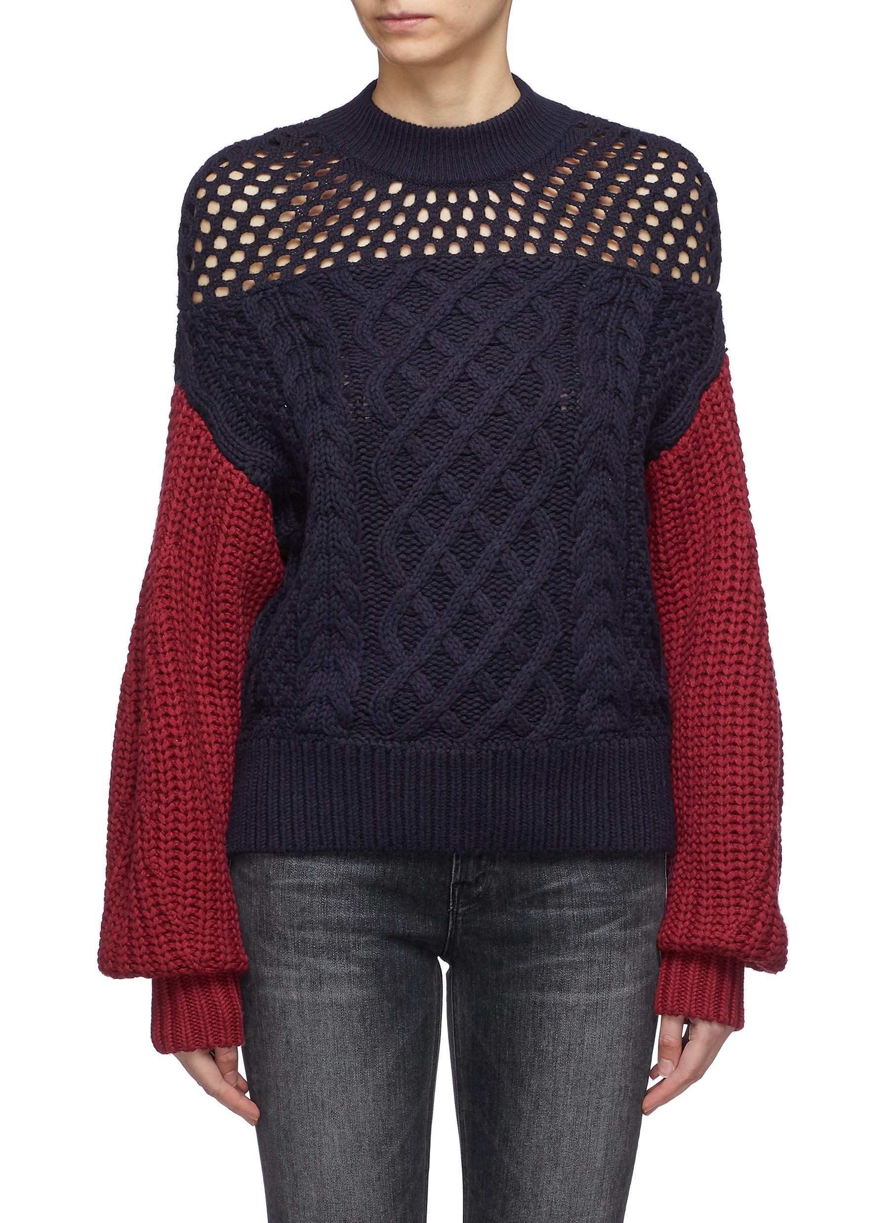 Colourblock cotton-wool mix knit sweater by Self-Portrait