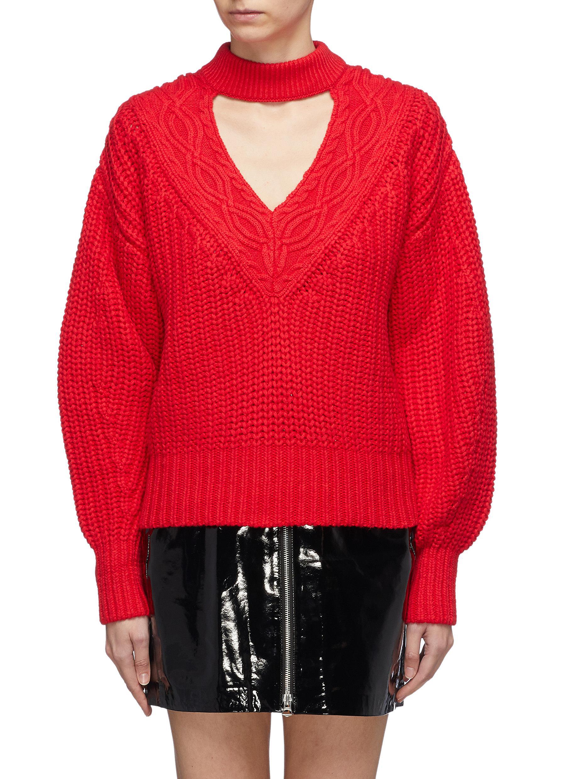 SELF-PORTRAIT Cutout V-neck cotton-wool mix knit sweater