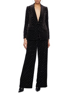 self-portrait Strass velvet blazer