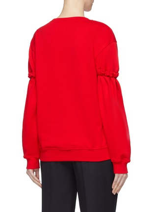 Back View - Click To Enlarge - MINKI - 'Moi' slogan lips chenille patch ruched sleeve sweatshirt